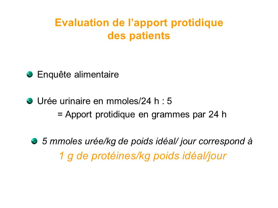 Evaluation de l'apport protidique des patients