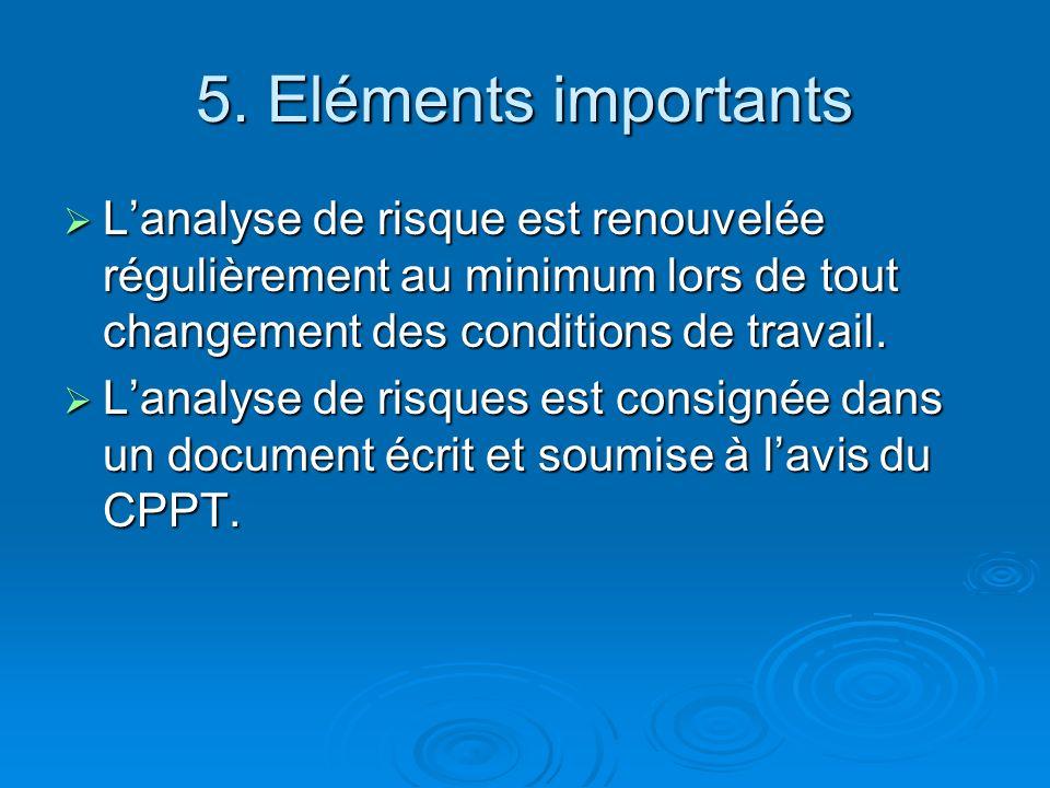 5. Eléments importants L'analyse de risque est renouvelée régulièrement au minimum lors de tout changement des conditions de travail.