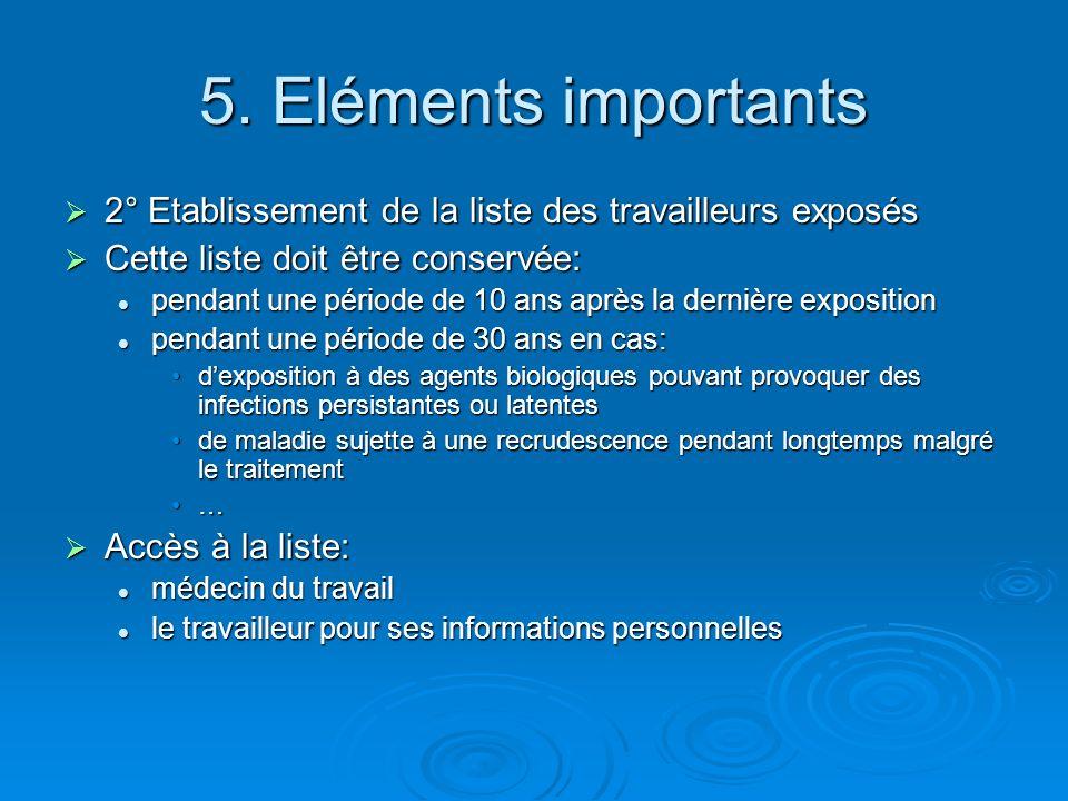 5. Eléments importants 2° Etablissement de la liste des travailleurs exposés. Cette liste doit être conservée: