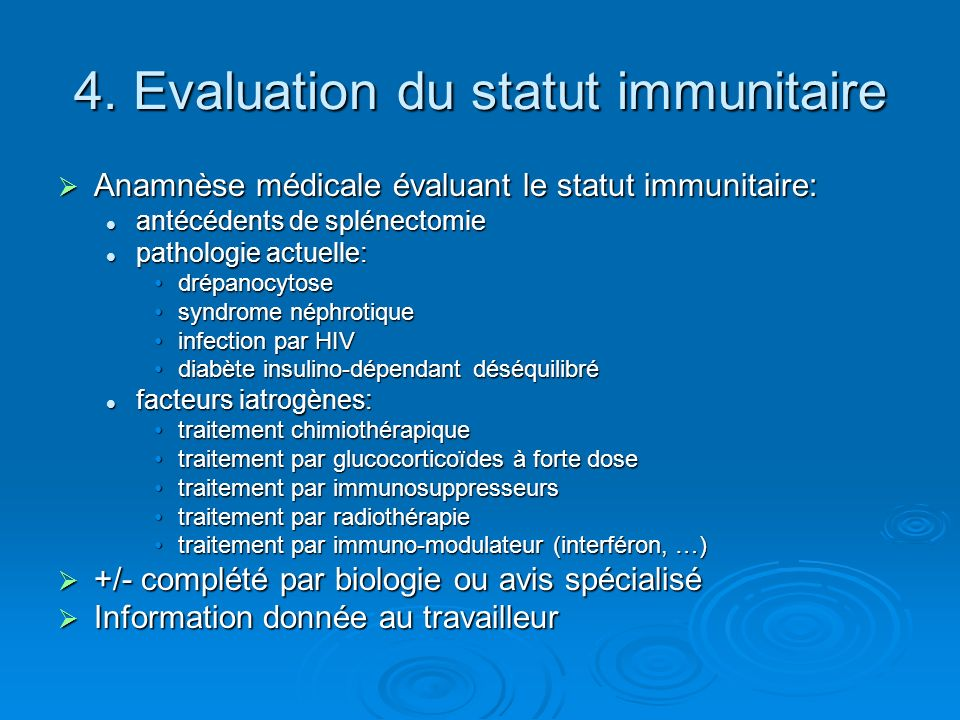 4. Evaluation du statut immunitaire