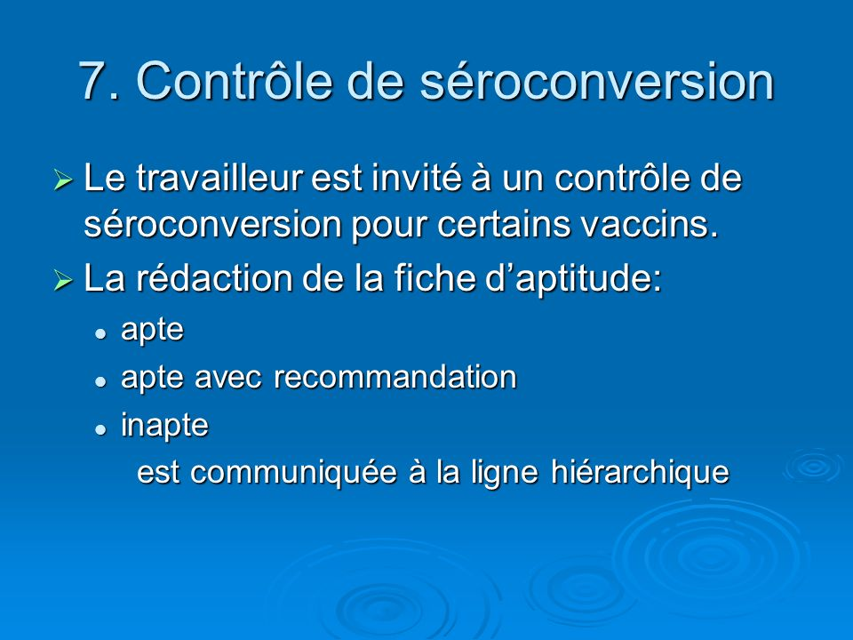 7. Contrôle de séroconversion