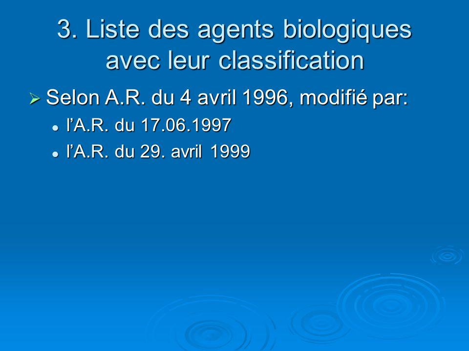 3. Liste des agents biologiques avec leur classification