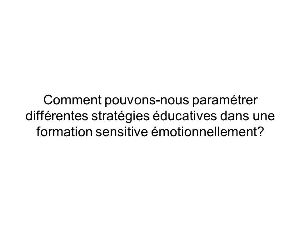 Comment pouvons-nous paramétrer différentes stratégies éducatives dans une formation sensitive émotionnellement