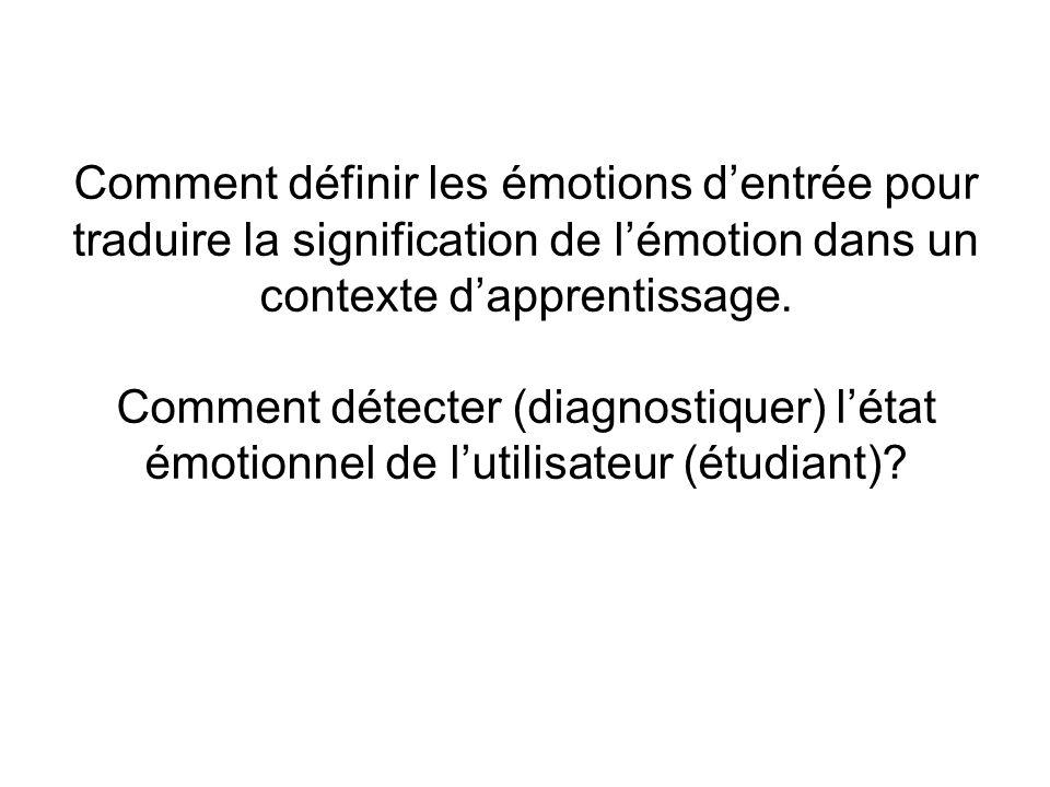 Comment définir les émotions d'entrée pour traduire la signification de l'émotion dans un contexte d'apprentissage.