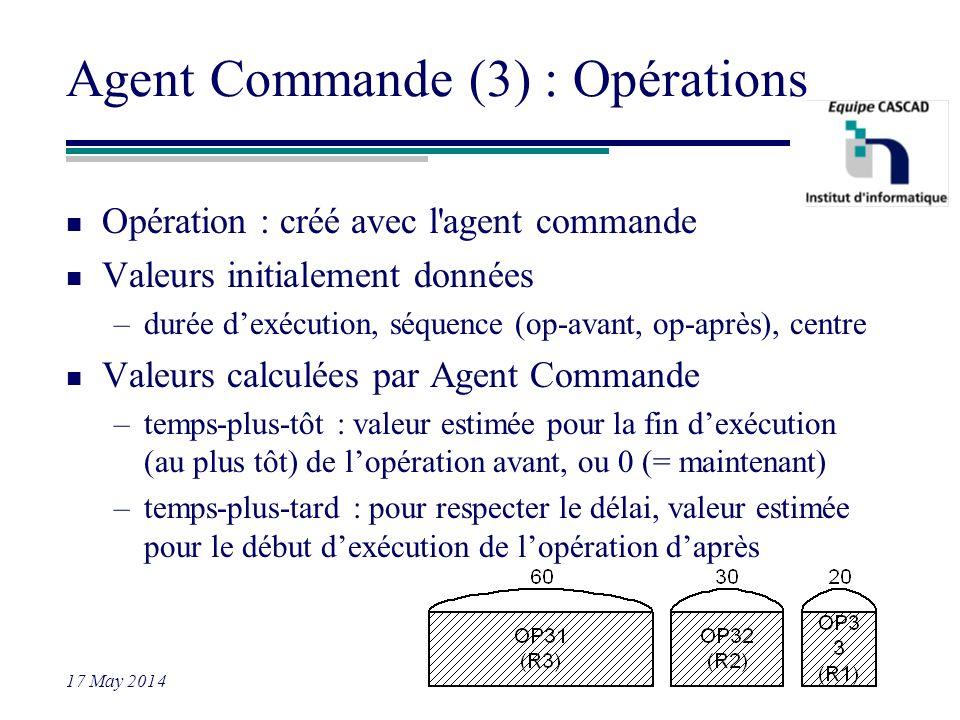 Agent Commande (3) : Opérations