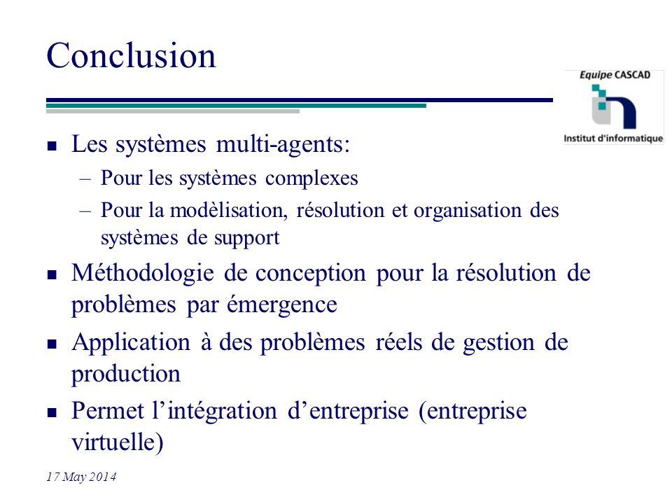 Conclusion Les systèmes multi-agents: