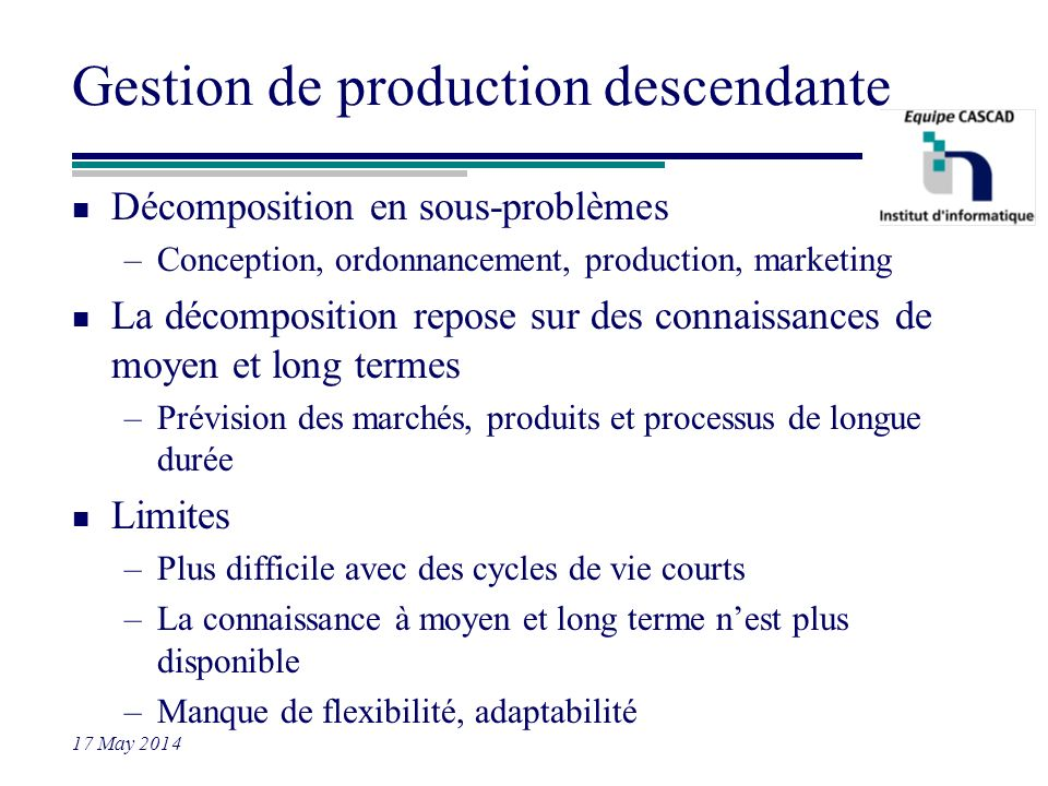 Gestion de production descendante