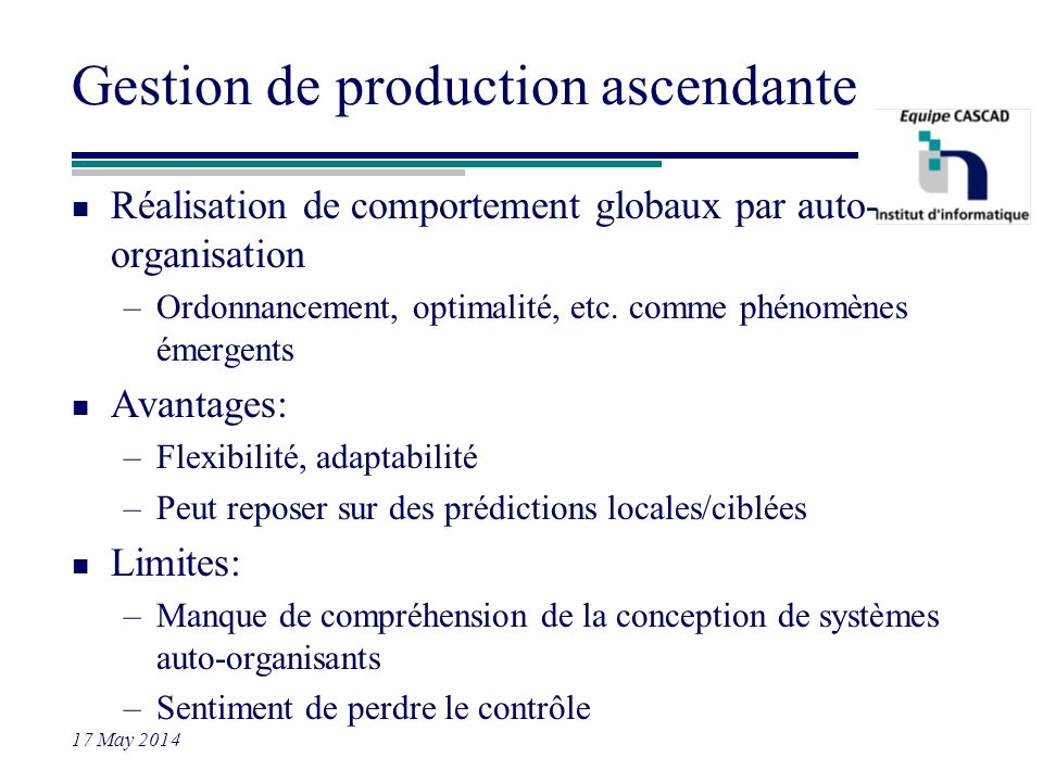 Gestion de production ascendante