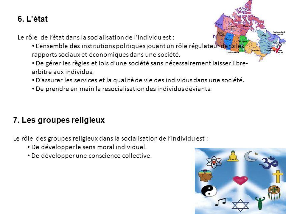6. L'état 7. Les groupes religieux