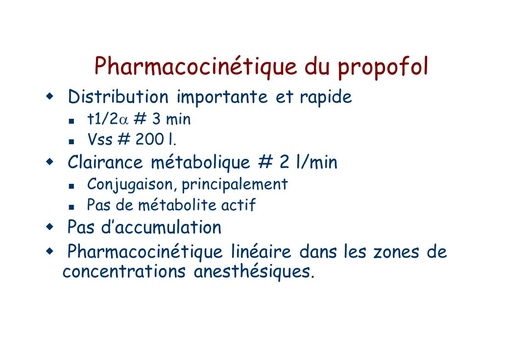 Pharmacocinétique du propofol