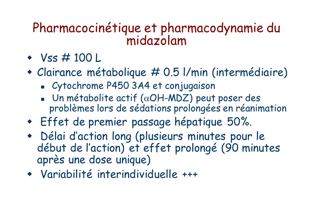 Pharmacocinétique et pharmacodynamie du midazolam