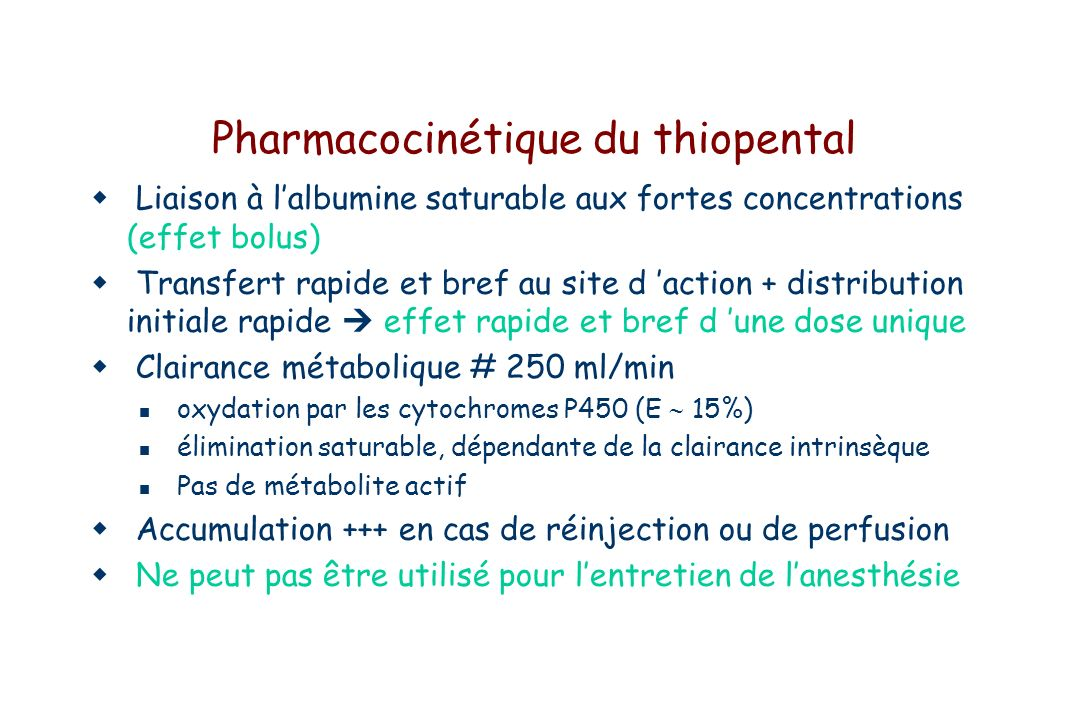 Pharmacocinétique du thiopental
