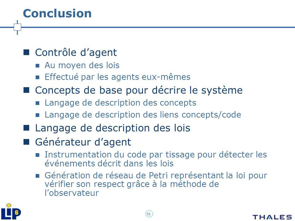 Conclusion Contrôle d'agent Concepts de base pour décrire le système