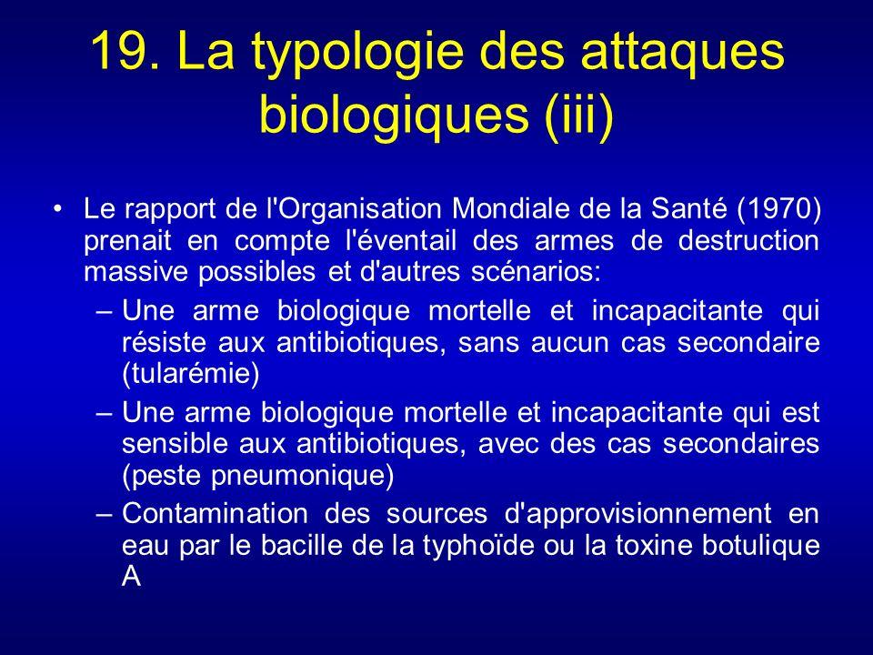 19. La typologie des attaques biologiques (iii)