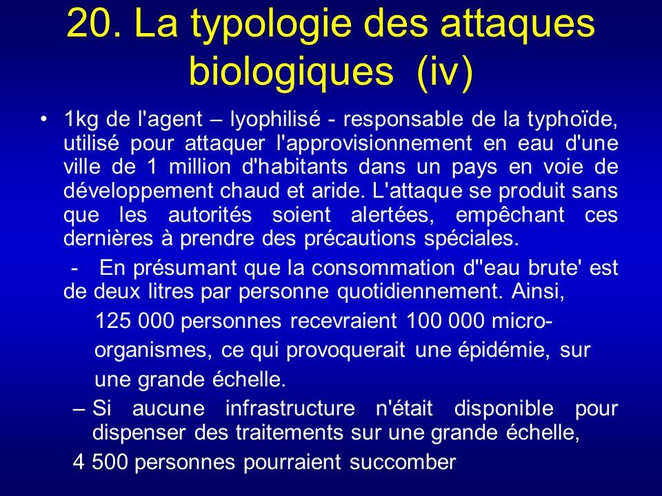 20. La typologie des attaques biologiques (iv)