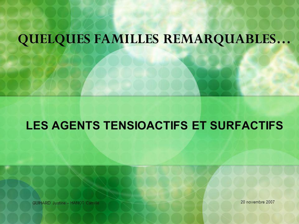 QUELQUES FAMILLES REMARQUABLES…