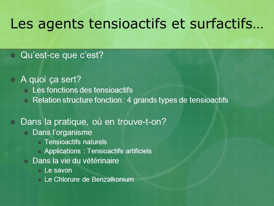 Les agents tensioactifs et surfactifs…