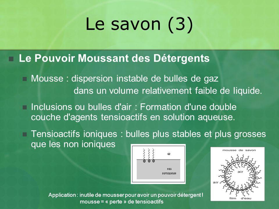 Le savon (3) Le Pouvoir Moussant des Détergents