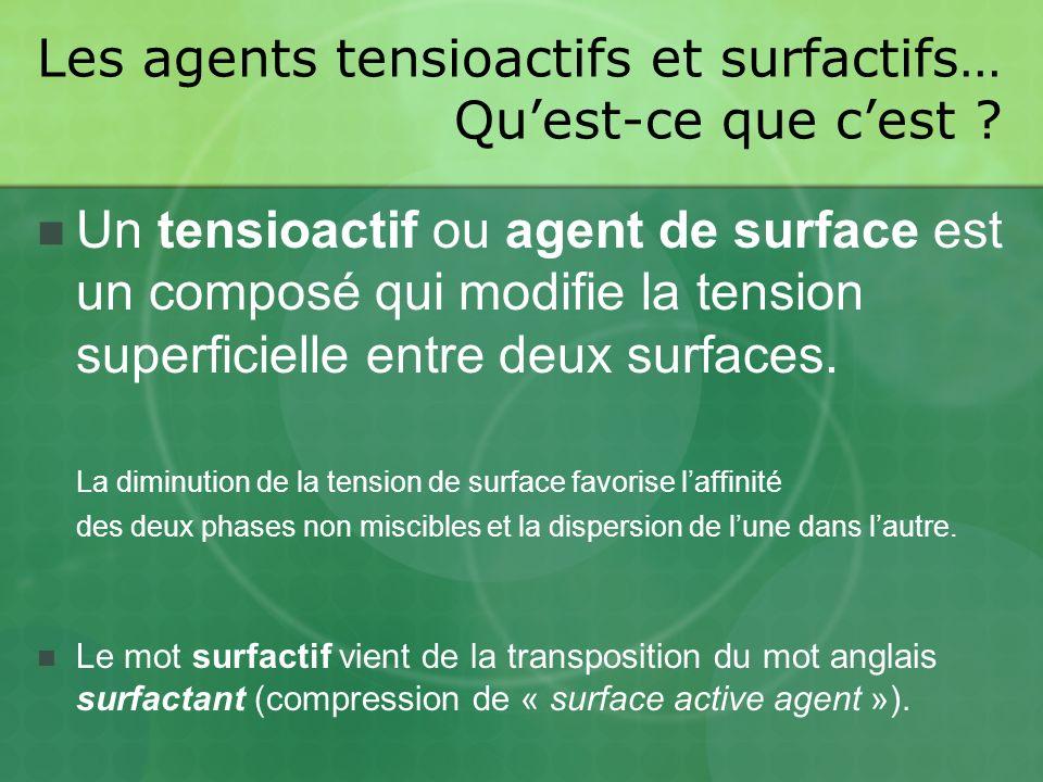 Les agents tensioactifs et surfactifs… Qu'est-ce que c'est