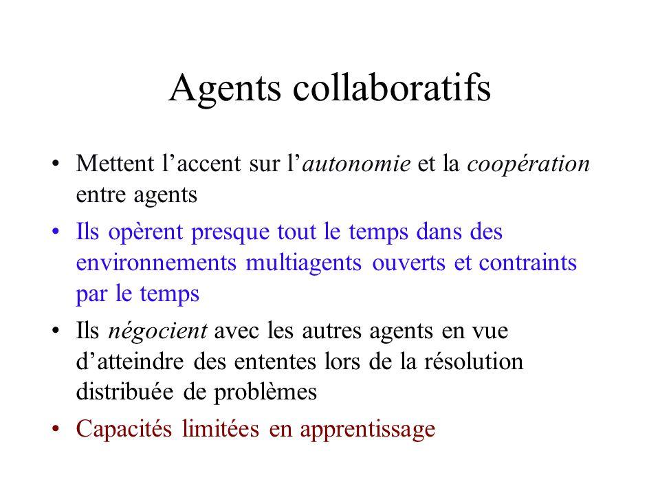 Agents collaboratifs Mettent l'accent sur l'autonomie et la coopération entre agents.
