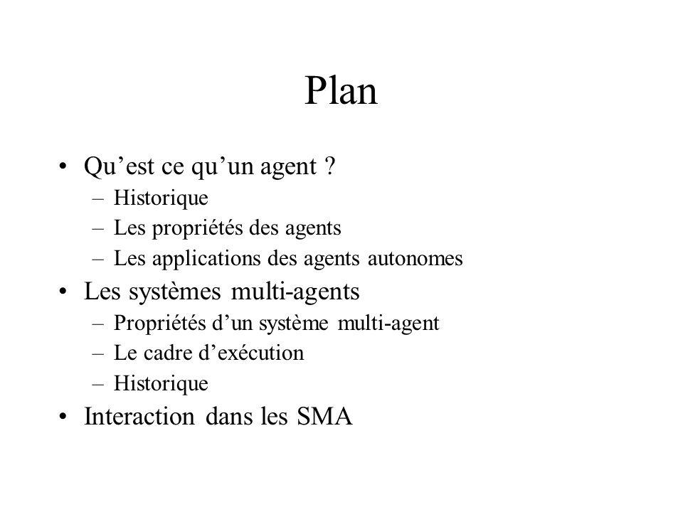 Plan Qu'est ce qu'un agent Les systèmes multi-agents