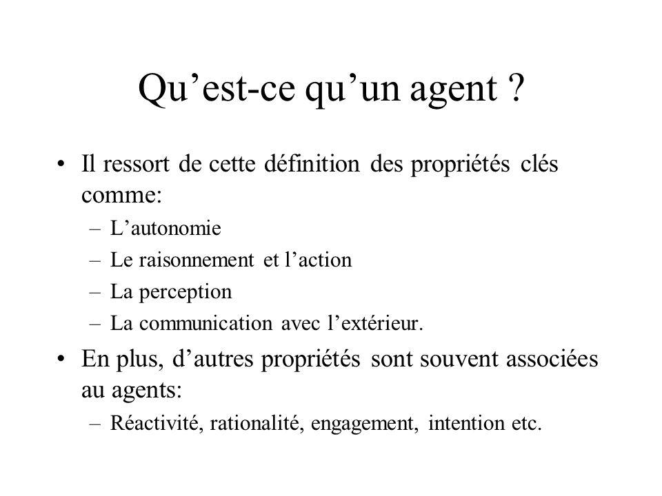Qu'est-ce qu'un agent Il ressort de cette définition des propriétés clés comme: L'autonomie. Le raisonnement et l'action.
