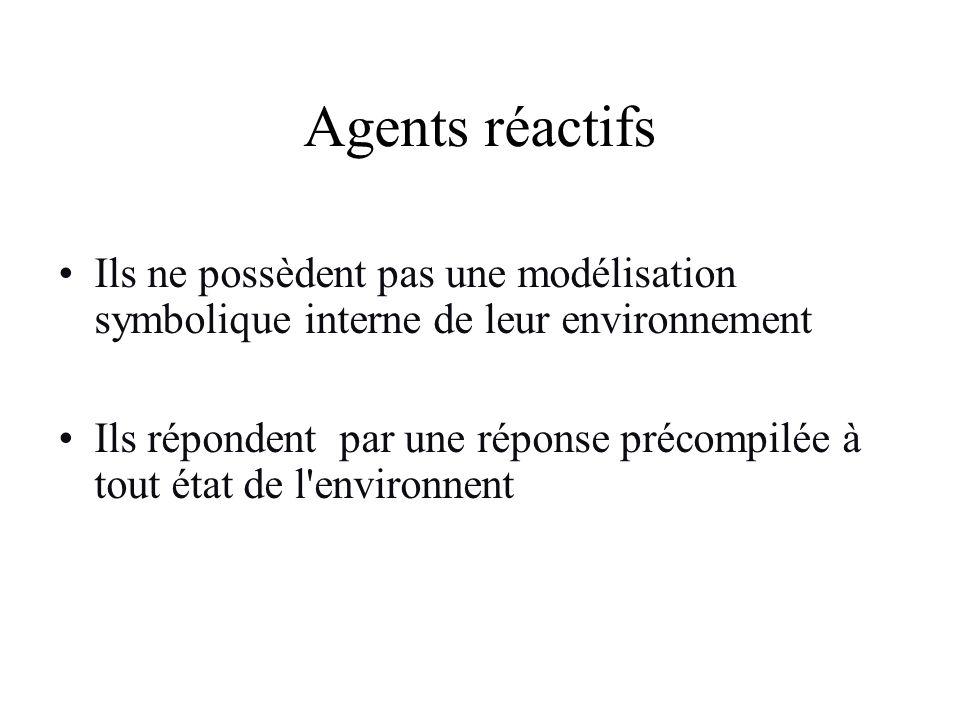 Agents réactifs Ils ne possèdent pas une modélisation symbolique interne de leur environnement.