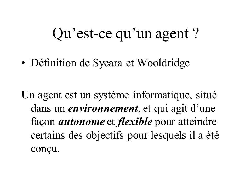 Qu'est-ce qu'un agent Définition de Sycara et Wooldridge
