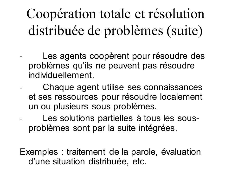 Coopération totale et résolution distribuée de problèmes (suite)