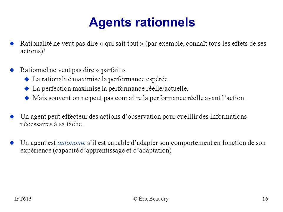 Agents rationnels Rationalité ne veut pas dire « qui sait tout » (par exemple, connaît tous les effets de ses actions)!