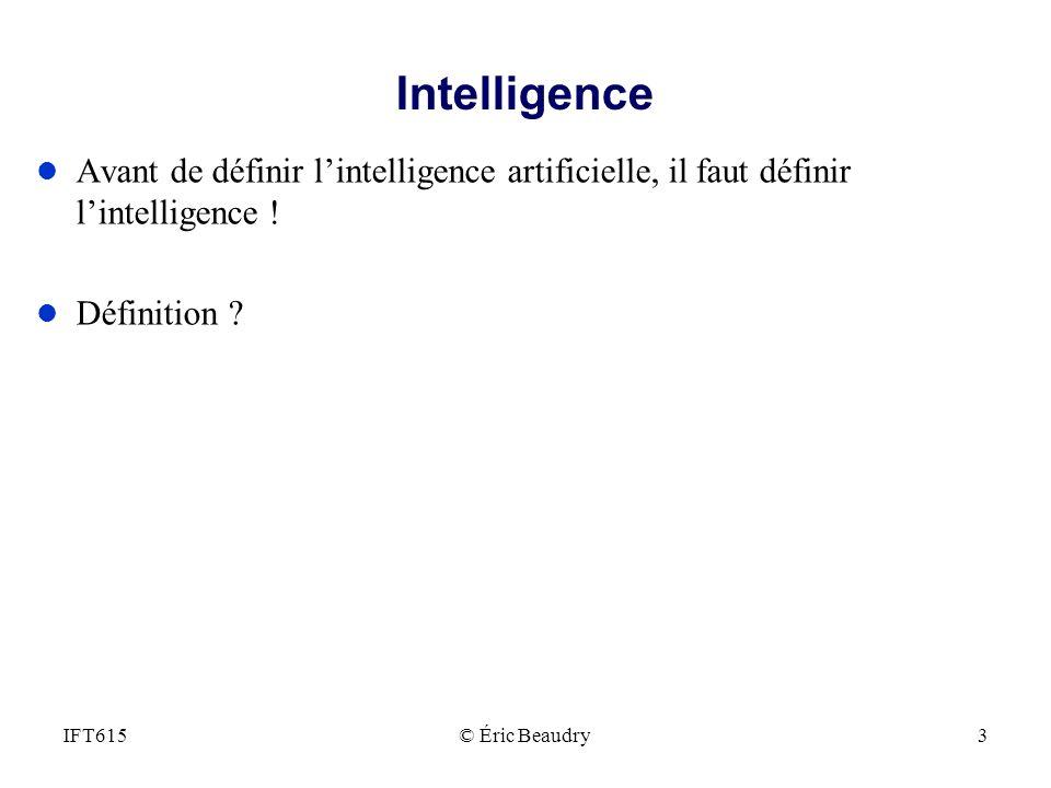 Intelligence Avant de définir l'intelligence artificielle, il faut définir l'intelligence ! Définition