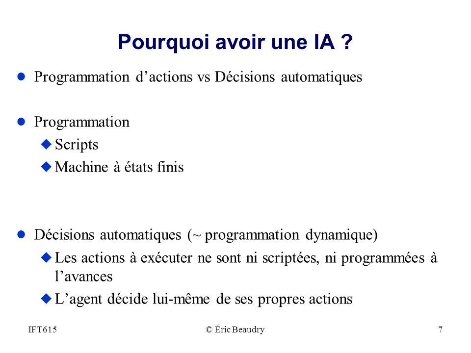 Pourquoi avoir une IA Programmation d'actions vs Décisions automatiques. Programmation. Scripts.