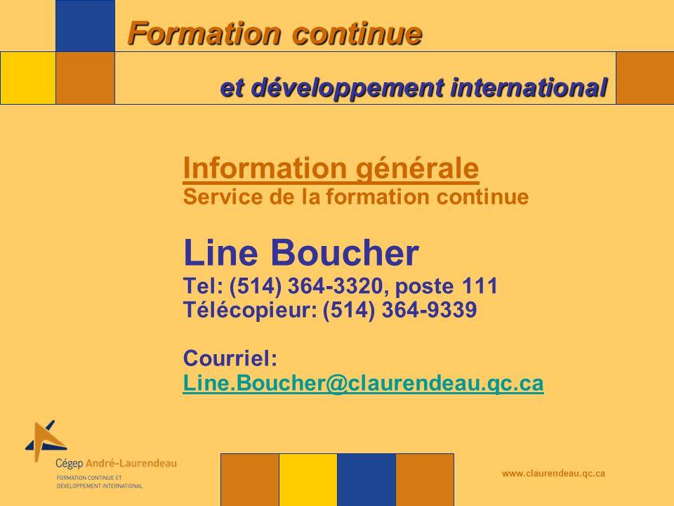 Line Boucher Information générale Service de la formation continue