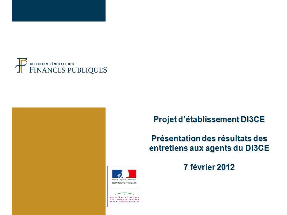 31/03/2017 Projet d'établissement DI3CE Présentation des résultats des entretiens aux agents du DI3CE 7 février 2012.