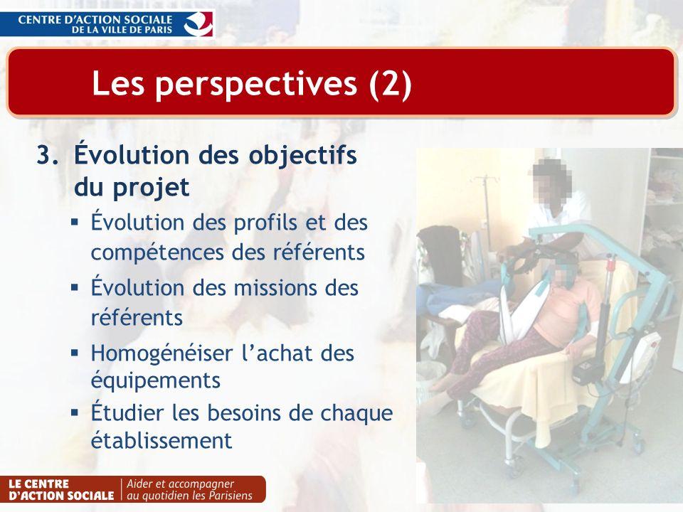 Les perspectives (2) Évolution des objectifs du projet
