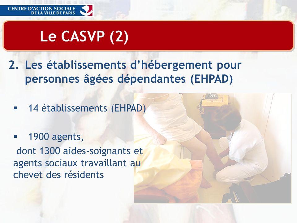 Le CASVP (2) Les établissements d'hébergement pour personnes âgées dépendantes (EHPAD) 14 établissements (EHPAD)