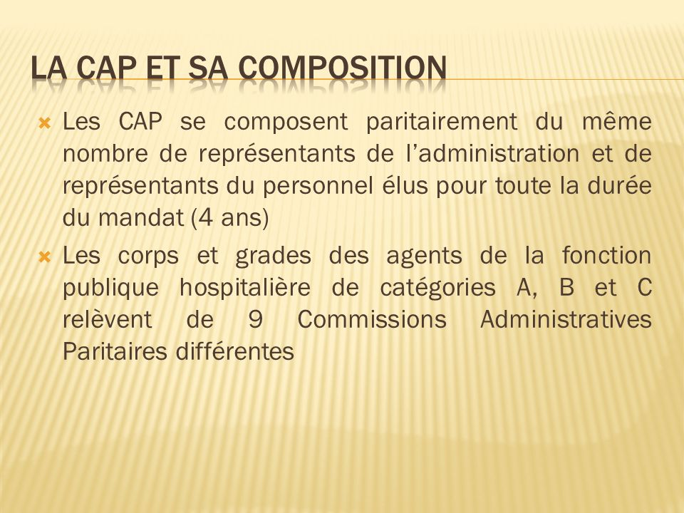 La CAP et sa composition