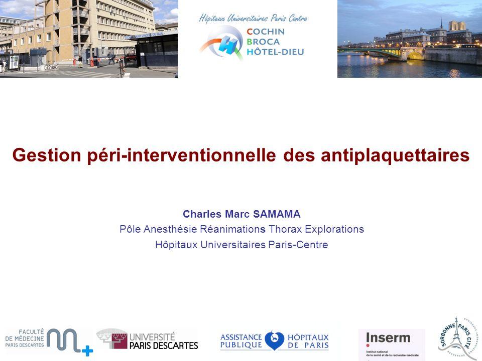Gestion péri-interventionnelle des antiplaquettaires