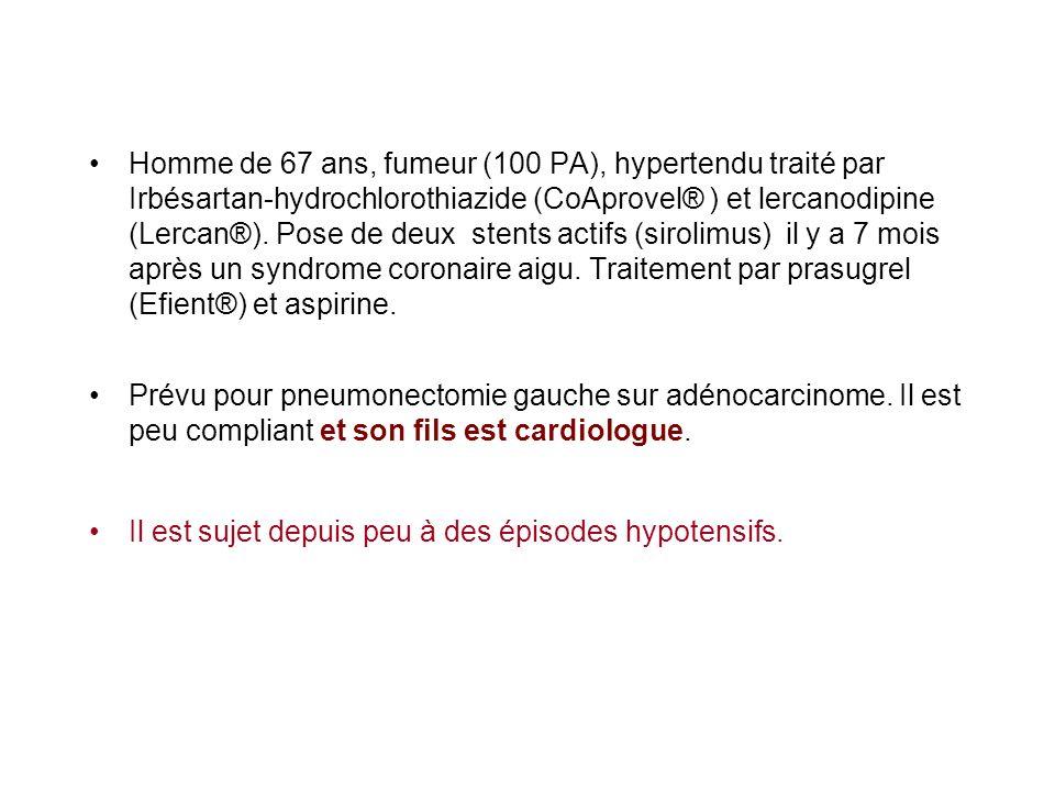 Homme de 67 ans, fumeur (100 PA), hypertendu traité par Irbésartan-hydrochlorothiazide (CoAprovel® ) et lercanodipine (Lercan®). Pose de deux stents actifs (sirolimus) il y a 7 mois après un syndrome coronaire aigu. Traitement par prasugrel (Efient®) et aspirine.