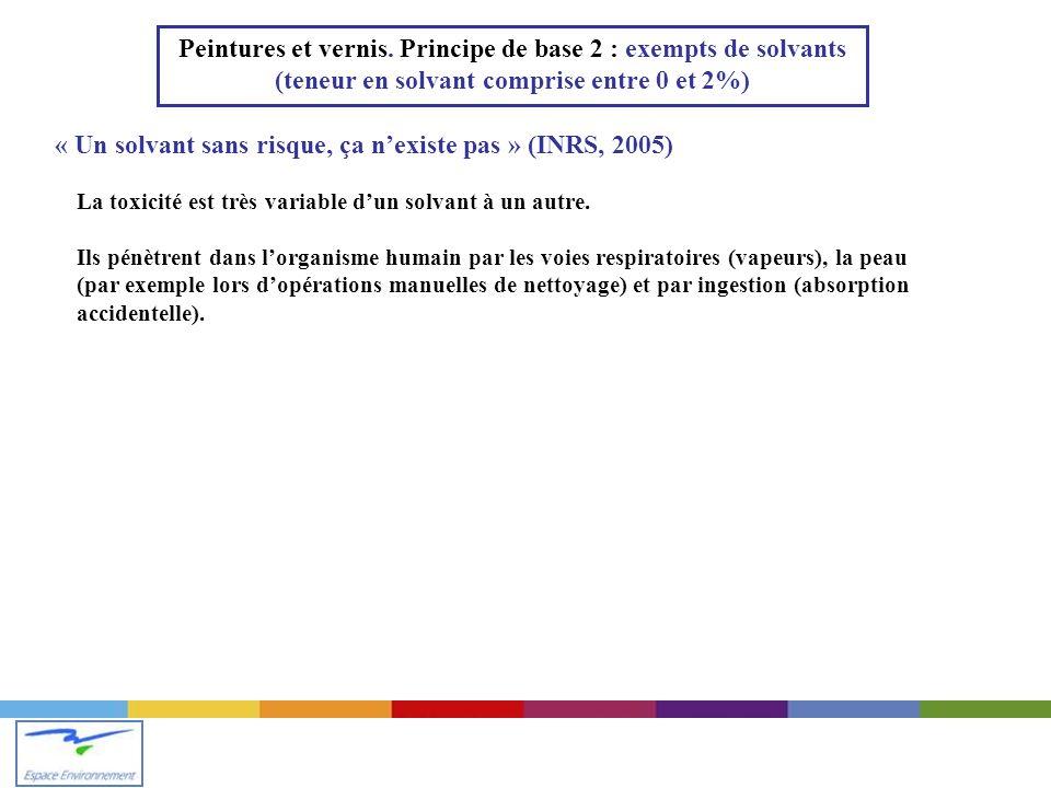 « Un solvant sans risque, ça n'existe pas » (INRS, 2005)