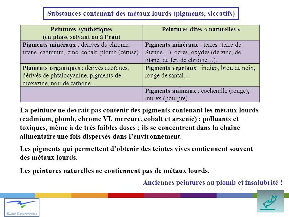  Substances contenant des métaux lourds (pigments, siccatifs)