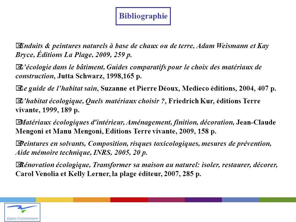 Bibliographie Enduits & peintures naturels à base de chaux ou de terre, Adam Weismann et Kay Bryce, Éditions La Plage, 2009, 259 p.