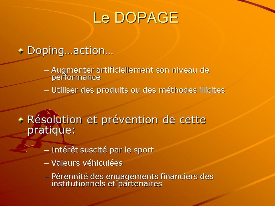 Le DOPAGE Doping…action… Résolution et prévention de cette pratique: