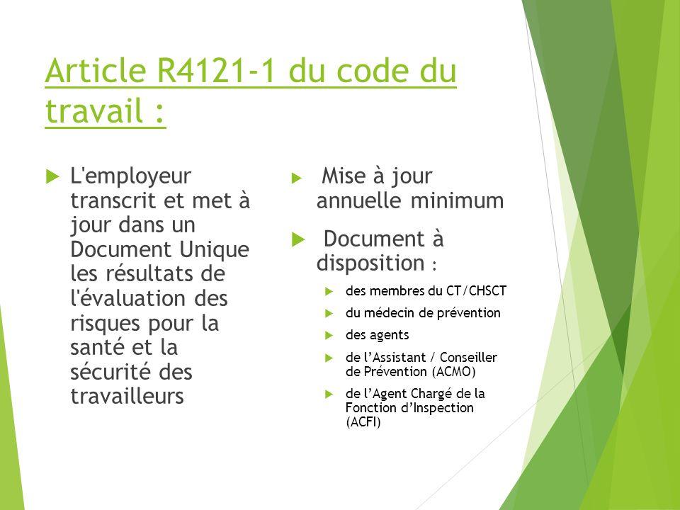 Article R4121-1 du code du travail :