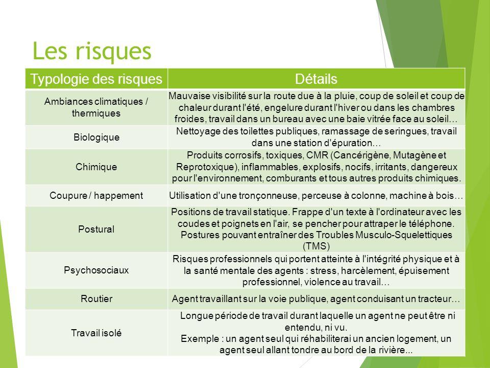 Les risques Typologie des risques Détails
