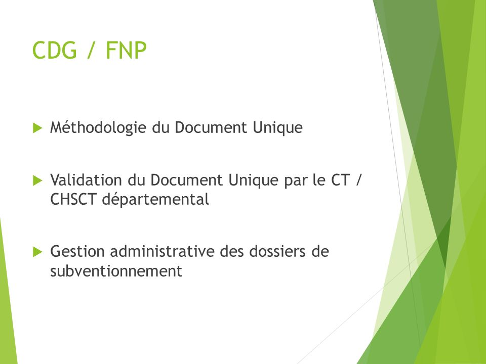 CDG / FNP Méthodologie du Document Unique