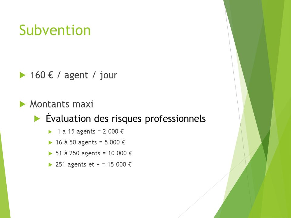 Subvention 160 € / agent / jour Montants maxi