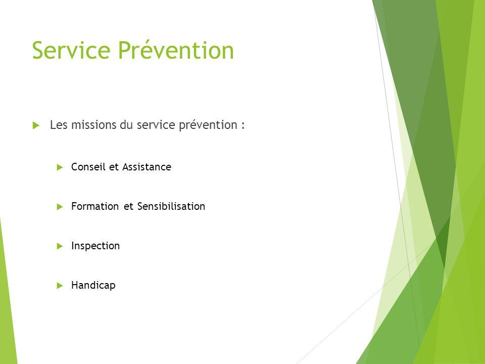 Service Prévention Les missions du service prévention :