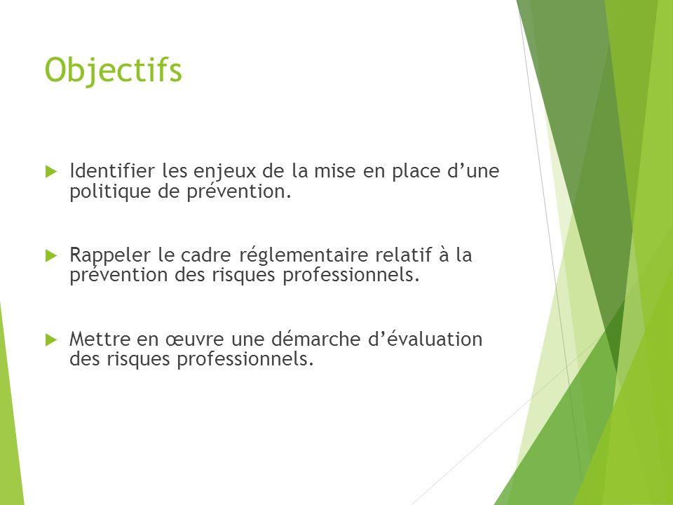 Objectifs Identifier les enjeux de la mise en place d'une politique de prévention.