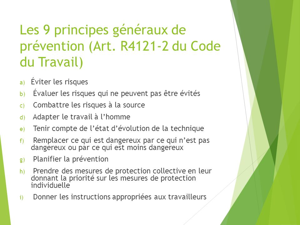 Les 9 principes généraux de prévention (Art